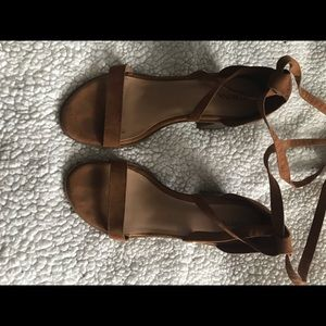 Merona Brown Suede Lace-Up Block Heels